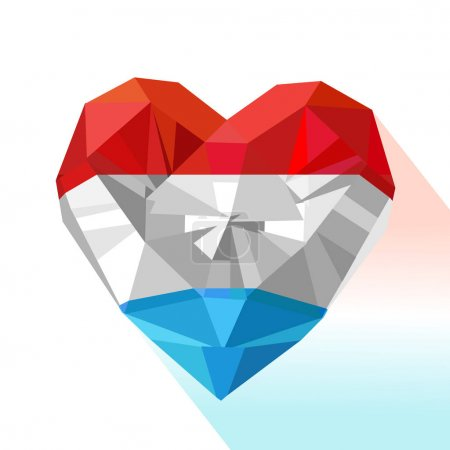 Vector crystal gem jewelry heart of the Grand Duchy of Luxembourg