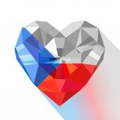 Vector crystal gem jewelry heart of the Czech Republic