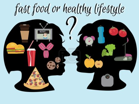 lifestyle - healthy and harmful. Fast-food or healthy food? vegetarian concept.