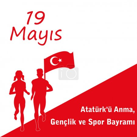 vector illustration 19 may Commemoration of Ataturk, translation: 19 may Commemoration of Ataturk, Youth and Sports Day.