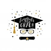 Congrats Grad 2018 lettering Congratulations Graduate banner Graduation cap and diploma rolled scroll flat design icon Finish education symbol