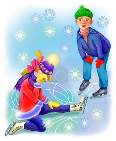 Illustration von Jungen und Mädchen, die Skaten lernen.
