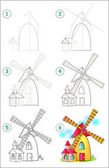 Page shows how to learn step by step to draw a windmill