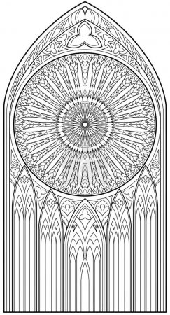 Page with black and white drawing of beautiful medieval Gothic window with stained glass and rose  for coloring. Worksheet for children and adults.