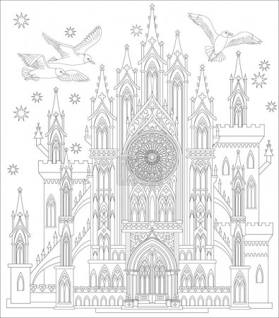 Fairyland medieval Gothic castle. Black and white page for coloring. Worksheet for children and adults. Vector image.