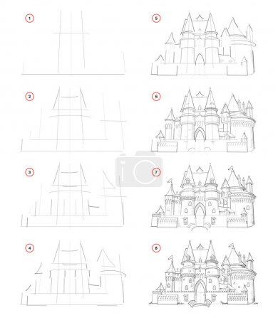 Illustration for How to draw from nature step by step sketch of medieval French castle. Creation pencil drawing. Educational page for artists. School textbook for developing artistic skills. Hand-drawn vector image. - Royalty Free Image