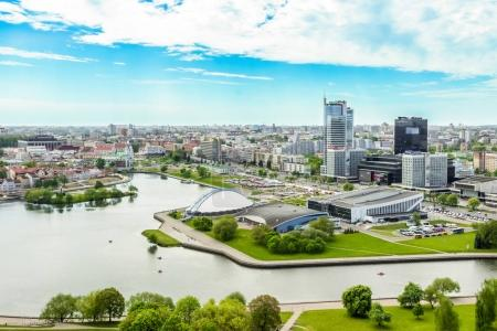 Minsk, Belarus - 20 May 2017 Panoramic view of the city from a height, Nemiga, Trinity Suburb, Prospectus of winners, Svisloch river, Hotel hilton, gallery, Royal Plaza (business center)