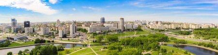 MINSK, BELARUS - May 20.2017 Panoramic view of the prospectus of the winners, Nemiga