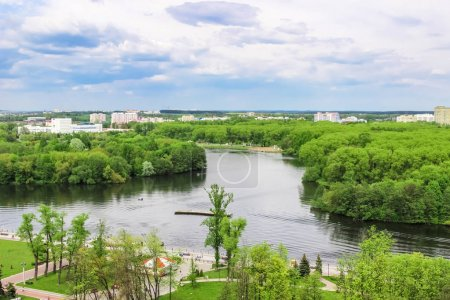 Nemiga, Minsk. Aerial view. Trinity hill, river Svisloch, Royal Plaza, Hotel by Hilton and etc. Belarus, May 20, 2017