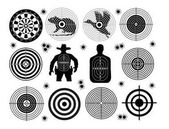 Set of targets shoot gun aim animals people man isolated Sport Practice Training Sight bullet holes Targets for shooting Darts board archery vector illustration
