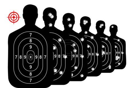 Illustration pour Définir tir cible champ de tir arrière plan vecteur balles trous - image libre de droit