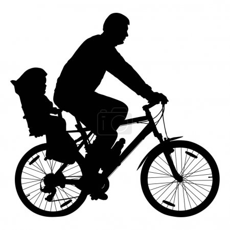 Man with child on bicycle, cyclist silhouette vector