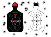 Target for shooting human silhouette set bullet holes Vector illustration isolated