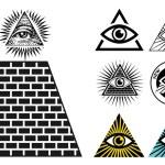 All Seeing Eye icons set pyramid. Illuminati symbo...