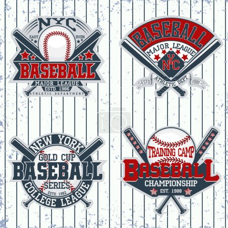 Illustration for Set of Vintage t-shirt graphic designs,  Creative print stamps, baseball typography emblems, sports logos, Vector - Royalty Free Image