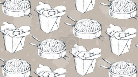 Chinese food vector illustration. Dim sum. Chinese dumplings wit