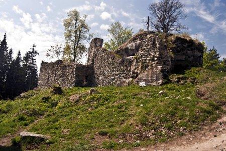 ruions of Vitkuv hradek castle in Sumava mountains in Czech republic
