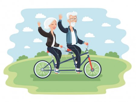Elderly couple riding a bicycle
