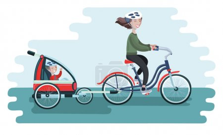 Family, Man and Woman with their his children traveling cycling together. Father and mother tows bike trolley with happy kids isolated vector illustration