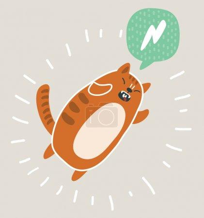 Photo pour Illustration vectorielle caricature de kawai mignon et drôle chat rouge saut. Discours de bulle. - image libre de droit