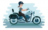 A cop is standing by her motorcycle holding her hat