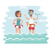 Vector illustration of old man standing in sea water with diving mask on his face and diving tube in his hand