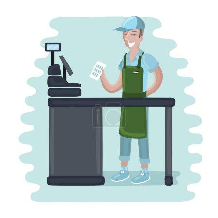 cashier man - vector illustration