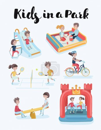 kids at playground clip art set