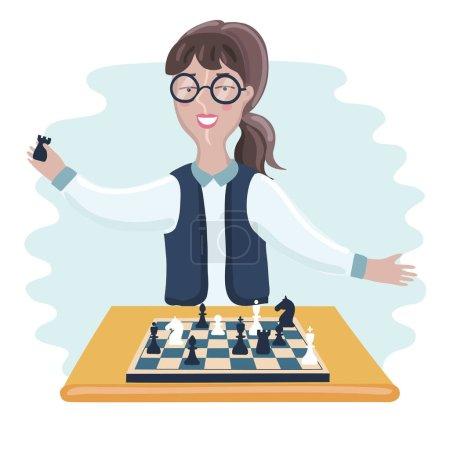 funny boy cartoon playing chess