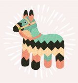 Vector cartoon funny illustration of donnkey pinata in vintage color