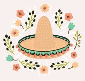 Vector illustration of mexican hat sombrero mexican hat isolated mexican hat decorated with flower vintage style