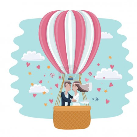 Vedding couple en ballon à air chaud