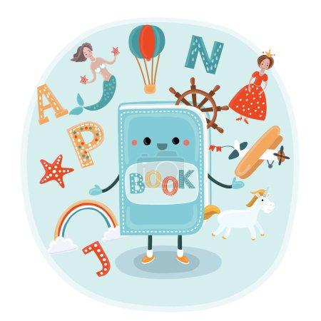 Vector cute cartoon illustration of illustration o...