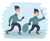 Vector cartoon funny illustration of two suspicious men carry crowbar and a sack Two guys are stealing Thieves