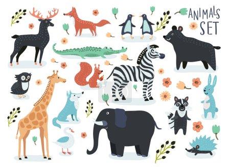 Photo pour Ensemble vectoriel d'illustrations de dessins animés drôles d'animaux mignons - image libre de droit