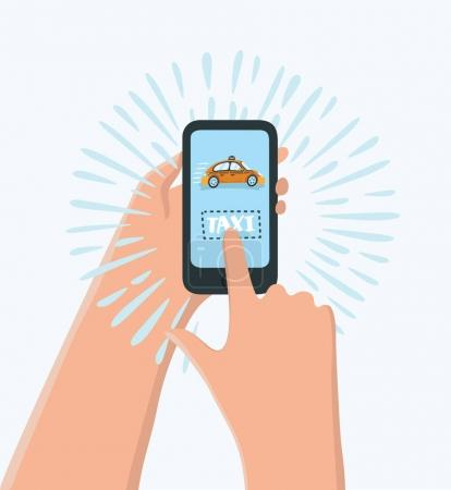 Illustration for Vector cartoon funny illustration of hand holding phone with taxi calling app, cartoon. Calling taxi service by phone concept - Royalty Free Image