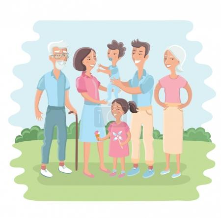 Big family together in the park. Vector illustration with flat style design