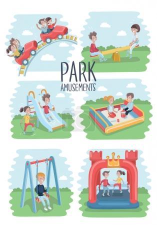 Illustration pour Ensemble de dessins animés vectoriels d'illustrations drôles de scènes d'enfants dans l'aire de jeux du parc. Réglage d'été extérieur - image libre de droit