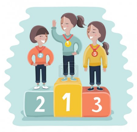 Ceremony of awarding medals. Three girl athletes on the pedestal. Vector illustration of a flat design
