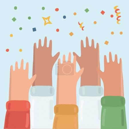 Vector illustration of many hands raised up