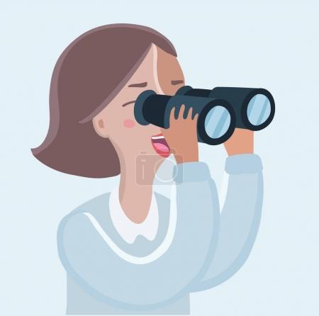 Illustration for Vector cartoon funny illustration of woman looking through binoculars - Royalty Free Image