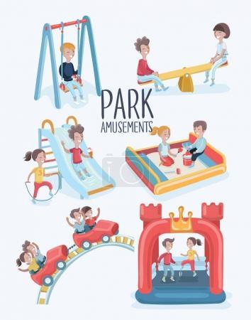 Illustration pour Ensemble de dessins animés vectoriels d'illustrations drôles de scènes de kins à l'aire de jeux dans le parc. Amusement d'été en plein air. Isolé en fond blanc - image libre de droit