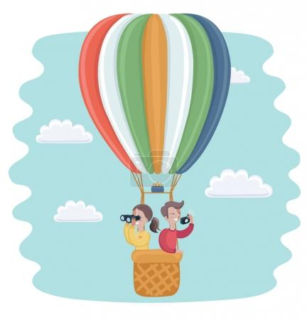 Illustration for Vector cartoon funny illustration of happy kids flying in a hot air balloon - Royalty Free Image