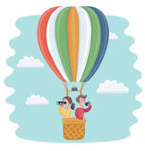 Vector cartoon funny illustration of happy kids flying in a hot air balloon