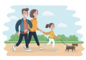 Vector cartoon illustration of a family walking in park with Their Dog Father Mother and daughter outdoor