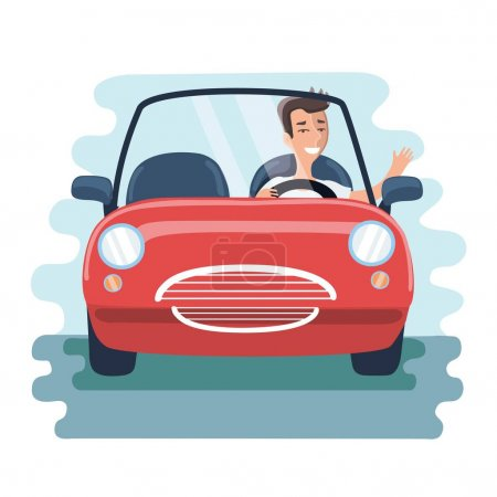 Illustration pour Illustration vectorielle de dessin animé che ? reful jeune homme conduisant voiture rouge sur la route. Vue de face - image libre de droit