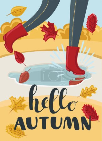 Girls or kids legs in rubber boots playing in the puddle. Falling leaves arround. Children jumping and splashing through the puddles in park in the Fall. Hello Autumn concept.