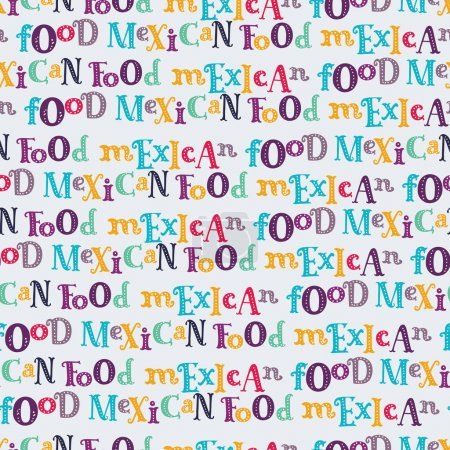 Vector seamless pattern of mexican food in linear style.