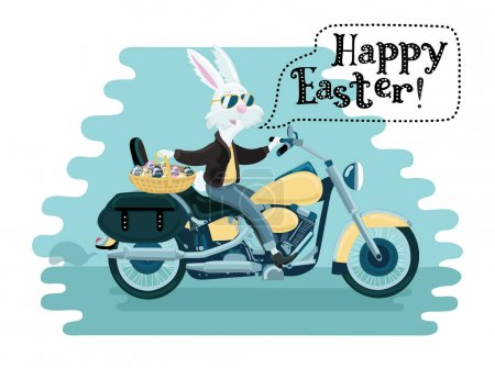 One rabbit mounted on a motorcycle background in cartoon style illustration. Vector file layered for easy manipulation and custom coloring.
