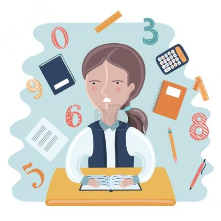 Cartoon vector illustration of funny girl sitting at the desk in Classroom